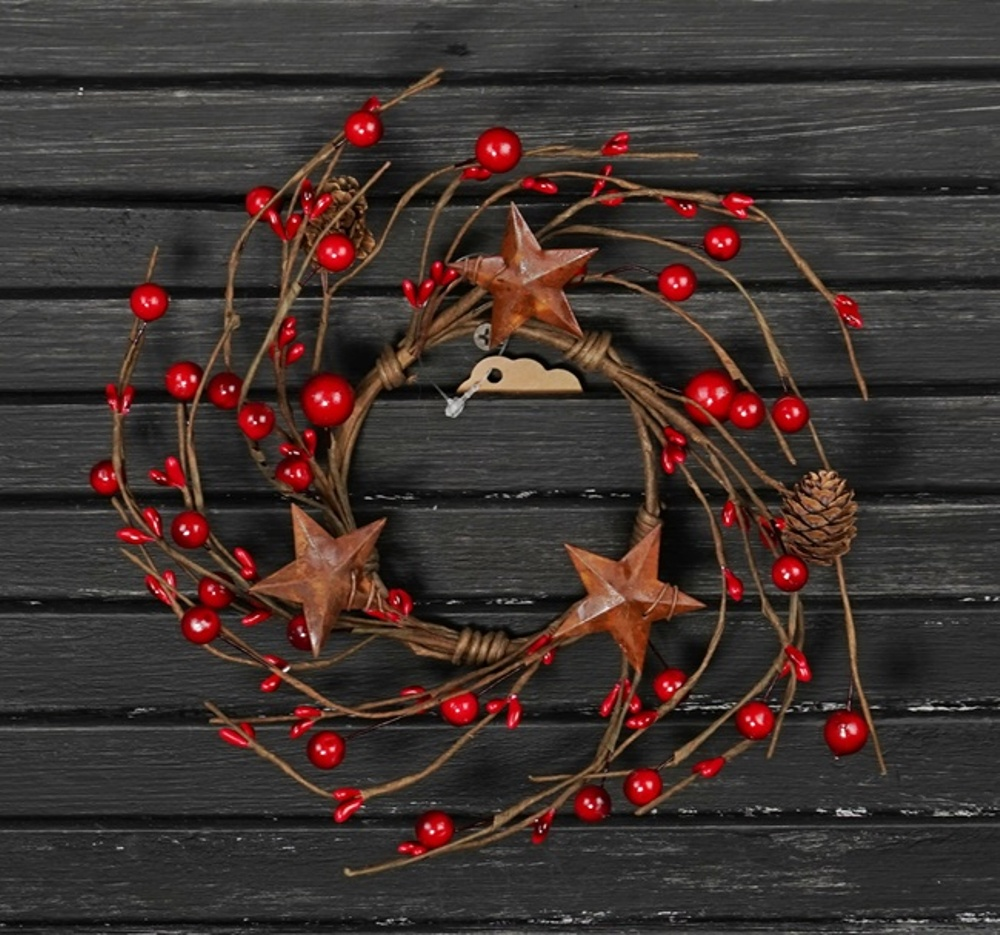 Winter Berry Candle Ring - Red Berries, Cones, and Stars - 3.5 Inch