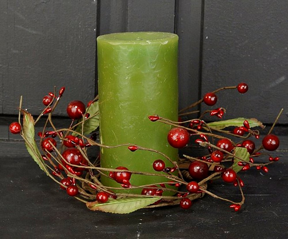 Winter Candle Ring - Mixed Red Berries - 3.5in