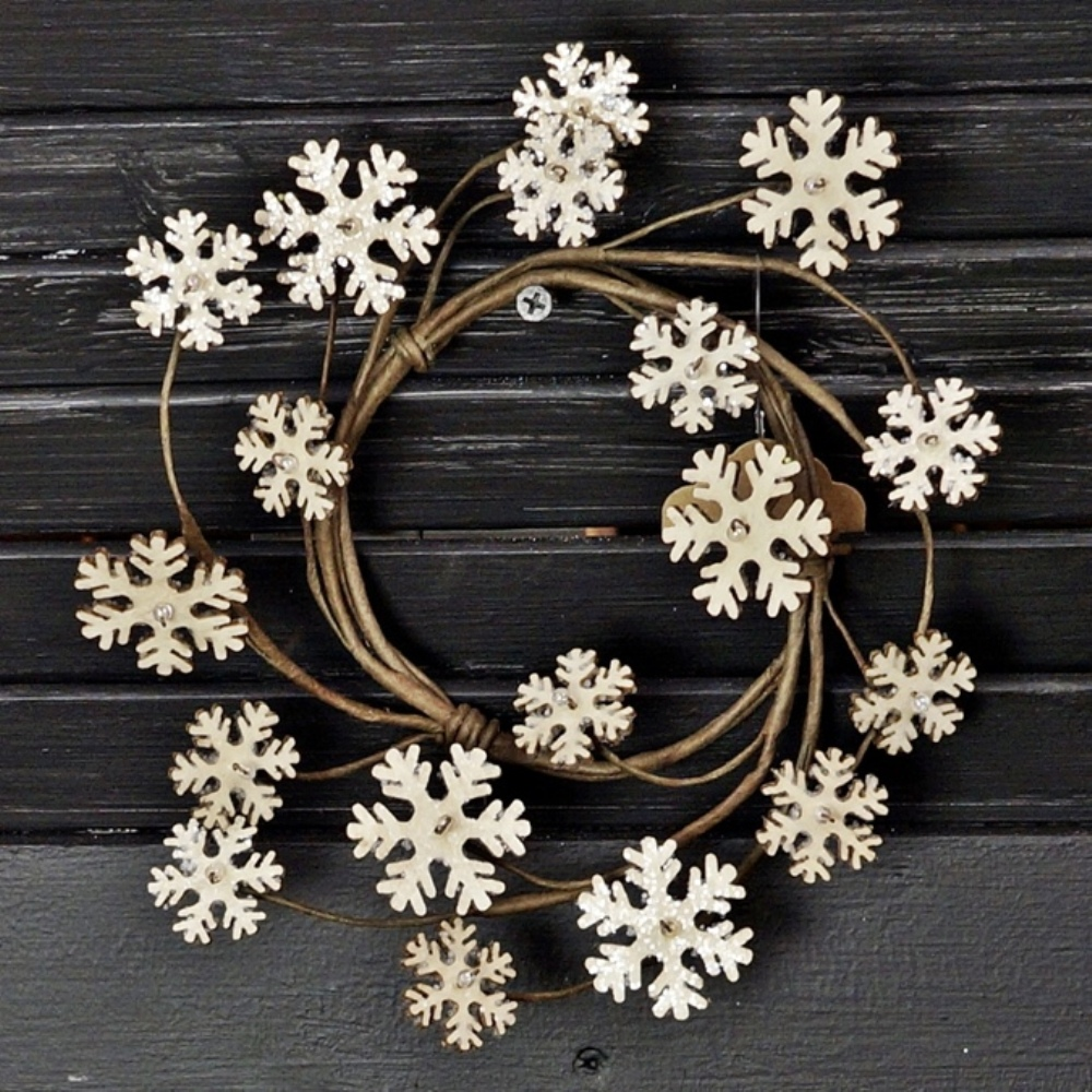 Winter Candle Ring - Vintage Snowflake - 3.5in