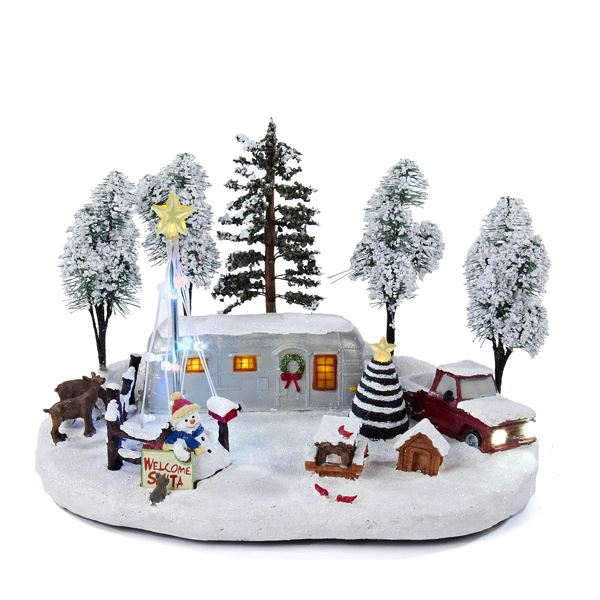 Winter Scene Table Decor - Red Truck and Silver Camper - Muscial