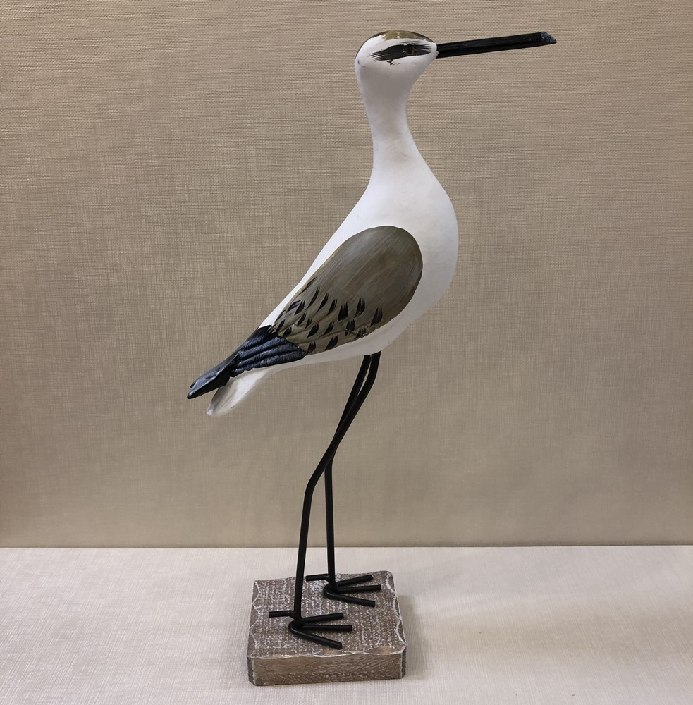 Wooden Bird Figurine - White Shore Bird - 14.5in