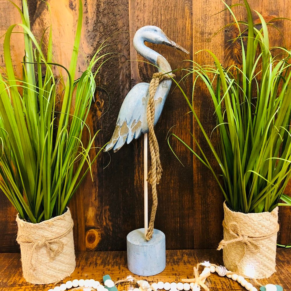 Wooden Blue Heron Figurine - Weathered Wood - 22in