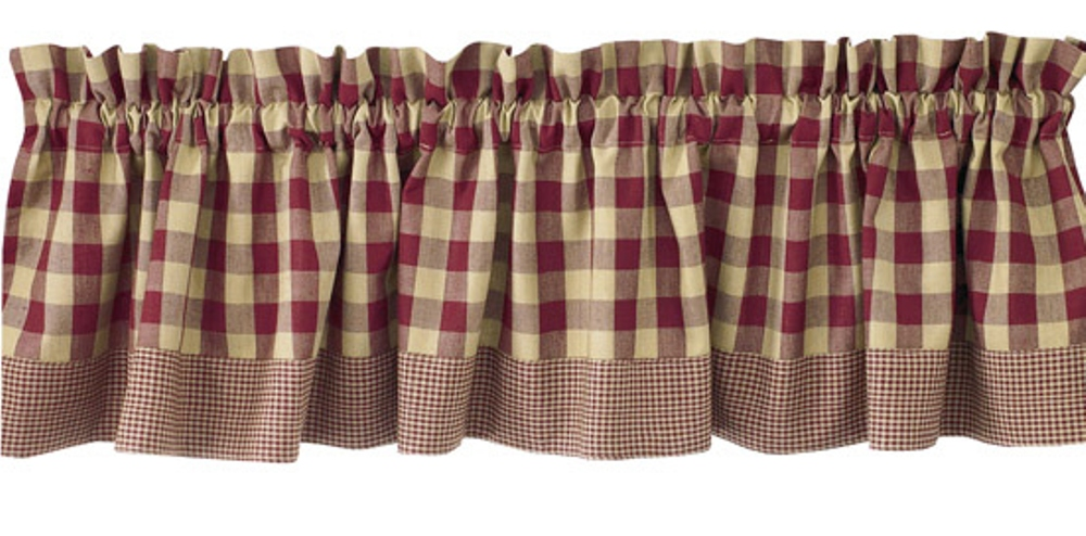 Unlined Window Valance - York Wine - 72in x 14in