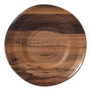 Acacia Wood Melamine Dinner Plates, Set of 6