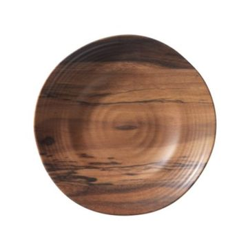 Acacia Wood Melamine Salad or Dessert Plates, Set of 6
