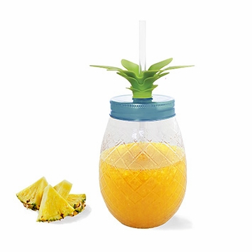 Acrylic Pineapple Mason Jar with Straw, Green Leaves & Blue Lid