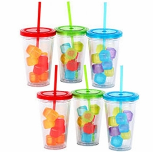 Acrylic Tumblers with Lid, Straw and Freezable Ice Cubes - Set/6