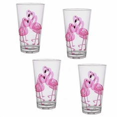 Flamingo Acrylic HiBall Tumblers Set/4