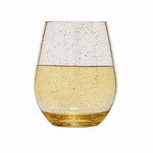 Gold Glitter Unbreakable BPA-Free Tritan™ Acrylic Stemless Wine Glass