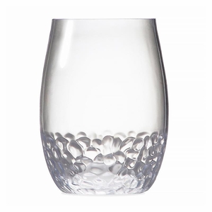 Hammered-Look Acrylic BPA Unbreakable Stemless Wine Glass