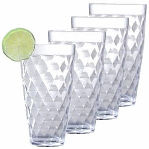 Harlequin Faceted BPA-Free Tritan™ Acrylic Tall Highball Tumbler