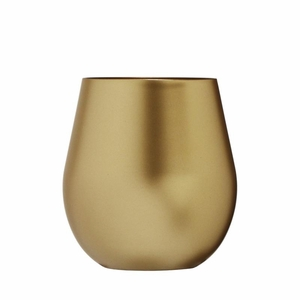 Metallic Gold-Look Acrylic Stemless Wine Glass