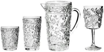 """Embossed Paisley Acrylic Glasses and Pitcher <font color=""""maroon""""><b>SALE!</b></font>"""