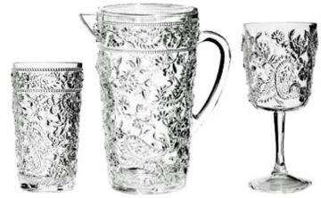 "Embossed Paisley Acrylic Glasses and Pitcher <font color=""maroon""><b>SALE!</b></font>"