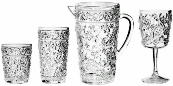 Embossed Paisley Acrylic Glasses and Pitcher