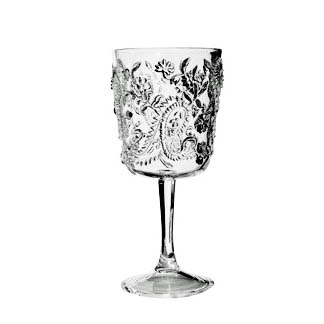 Embossed Paisley Acrylic Wine Glass