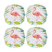 Pink Flamingo Small Melamine  Plates, Set of 4