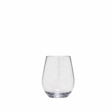 Silver Sparkle Unbreakable BPA Free Stemless Wine Glass