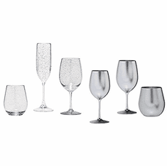 Silver Toned Acrylic Wine Glasses