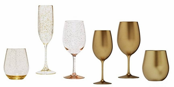 Gold Toned Acrylic Wine Glasses