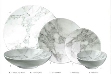 White Marble-Look Melamine Salad Plates, Set of 6