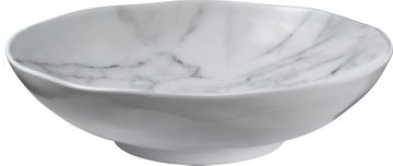 White Marble-Look Melamine Serving or Salad Bowl