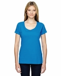 Ladies' Fine Jersey Deep Scoop Neck Longer Length T-Shirt