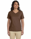 LAT Sportswear Women's T-Shirt: 100% Cotton Ringspun V-Neck (L-3587)