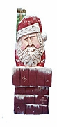 Chimney Santa Claus Wood Carving #18073
