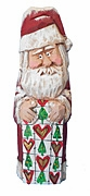 Hand Carved Santa Claus with Heart Quilt