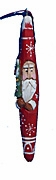 Hand Carved Tall Hat Santa Ornaments