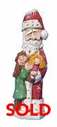 Wood Santa Claus with Child