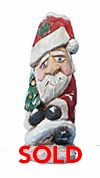 Santa Claus Woodcarving with Christmas Tree