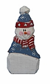 Wooden Folk Art Patriotic Snowman Decoration