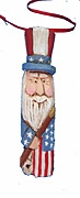 Wood Patriotic Santa Claus Ornament