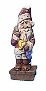Santa Claus Woodcarving with Doll