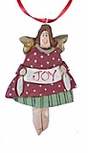 Wooden Folk Art Angel Christmas Ornament #17213