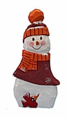 Wooden Christmas Snowman with Cardinal