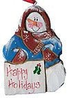 Wooden Fok Art Snowman Ornament