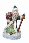 Wooden Santa Claus Carving with Staff #18009