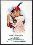 2008 Topps Allen and Ginter #31 Ryan Zimmerman Baseball Card - Washington Nationals