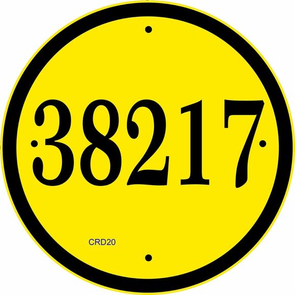 Large Round Address Sign - Giant Size Circular House Number Plaque