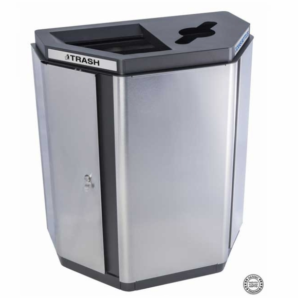 Commercial Indoor Two Stream Trash & Recycle Container - Angled Half Hex Receptacle