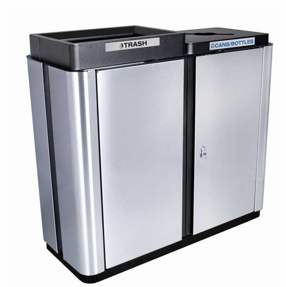 Two Stream Trash and Recycling Container Large Commercial Capacity With Ground Anchors - Indoor or Covered Top Outdoor Models