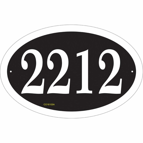 Oval Address Plaque with Big Numbers