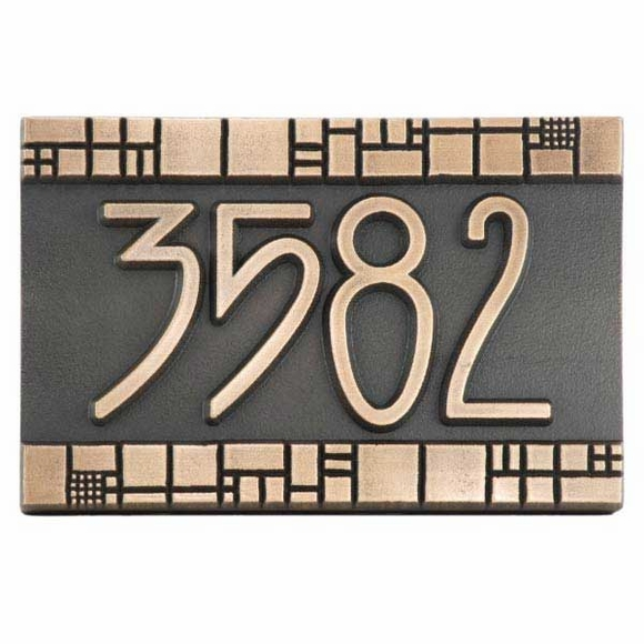 Address Plaque with Geometric Border