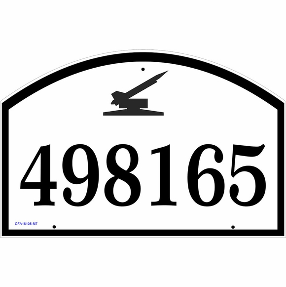 Address Plaque with Military Vehicles Including Cannon, Tank, Gun, and Rocket Launcher