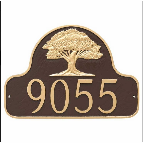 Address Plaque with Oak Tree, wall mount