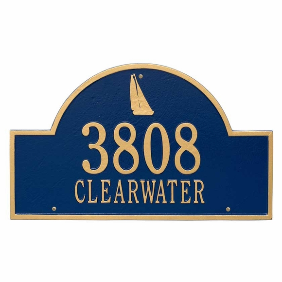 Large Metal Address Plaque with Sailboat