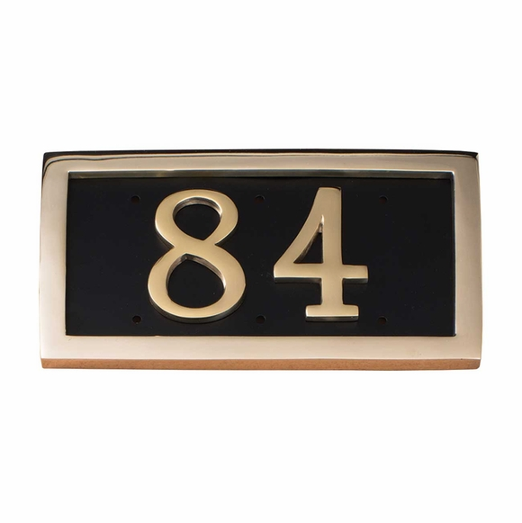 Address Plaque with Two Large Brass Numbers